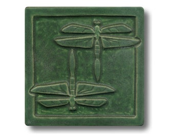 Double Dragonfly Art Tile free shipping