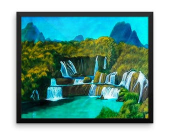 Waterfall Art Print, FRAMED Art Print, Matte Paper Poster, Waterfall Painting, Mountain Painting, Waterfall Landscape Painting