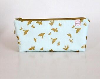 Long Zipper Pouch, Gold Birds, Pencil zipper pouch, college- school- Journal- stationary supply bag, Makeup bag, Gift for Mom, Purse pouch