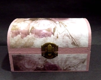"""Shabby-Chic Roses Collection- TRINKET Box in the style of a large Treasure Chest. Pink background & interior. Part of a """"SHABBY CHIC"""" Range"""