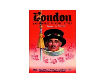 London 1950 Beefeater Guard  Pan Am Airline Vintage Poster Print Retro Art Free Us Post Low EU & CA Post Buy 3 Get 1 Free