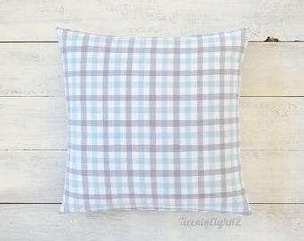 Baby Blue & Gray Plaid Pillow Cover -Flannel Pillow, Boys Pillow, Decorative Pillow, Throw Pillow, Plaid Pillow, Nursery Pillow, Playroom