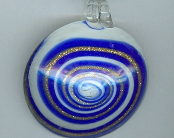 50mm x 55mm Blue White Swirl Oval Glass Lampwork Focal Pendant with Gold Lines