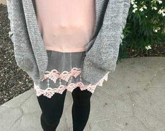 Lace Top Shirt Extender Cami Lace Trim in Peachy Blush Pink