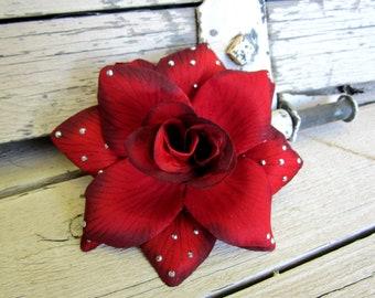 Dark Red Rose Gunmetal Stones, Pinup Hair Clip, Red Rose Hair Flower, Rockabilly Rose, Rockabilly Wedding, Crimson Rose Flower, Fascinator