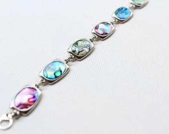 Abalone Bracelet, Silvertone