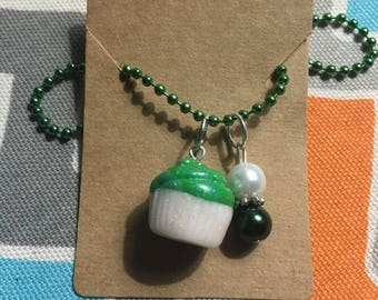 Clay Cupcake Charm Necklace