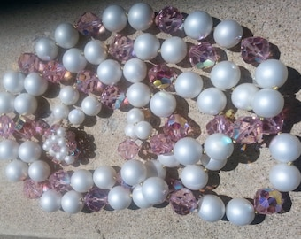 Pink Crystal White Pearl Necklace Chunky Double 2 Strand Bride Wedding Swarovski Light Rose AB Baby Shower Easter Spring Summer Jewelry Idea