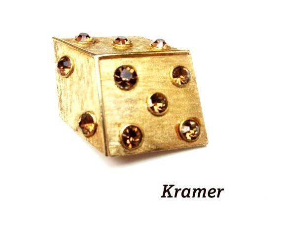 Dice Brooch - amber Orange Rhinestone - signed Kramer - Figurine pin