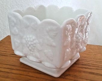Vintage Westmoreland Milk Glass Planter Vase Paneled Grape White Square Footed 4.5""
