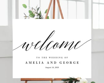 3 Sizes Wedding Welcome Sign Poster - Editable PDF Template Instant Download - Modern Script #MSC