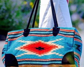 Handwoven Recycled Vintage Blanket Bag // Weekender Travel Carry-All