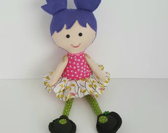Girl's first or second birthday present. Rag doll, cloth doll, soft doll, girl soft rag doll, stuffed girl doll,  ballerina doll.