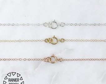 Simple Chain Necklace, Custom Length ↠ Sterling Silver, Yellow or Rose Gold, Dainty Thin / Fine - Plain Choker, Short, Long | Rainier Design