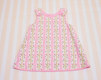 6 - 12 months, baby girl reversible a-line dress, summer outfit, pink pinafore dress with snaps, baby dress with flowers, girls tunic dress