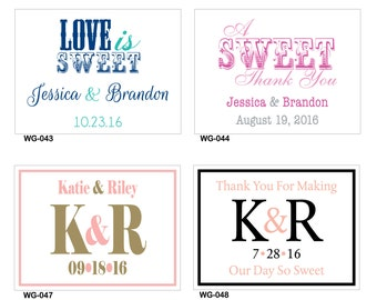 24 - 4x3 Glossy Waterproof Wedding Rectangle / Welcome Bag Stickers - hundreds of designs to choose - change designs to any color or wording