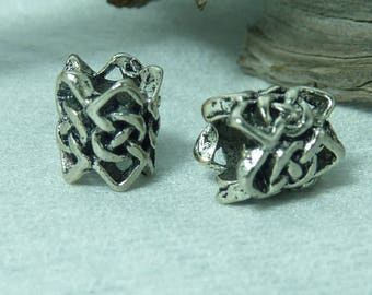 2 beads woven in silver 9x8mm
