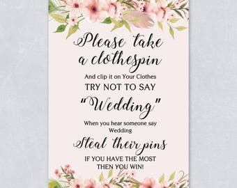 Pastel bridal shower etsy please take a clothes pin dont say wedding floral bridal shower game filmwisefo Gallery