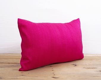 "Silk pillow, Bright pink color,  lumbar pillowcover, size 12""X20"", other sizes available"