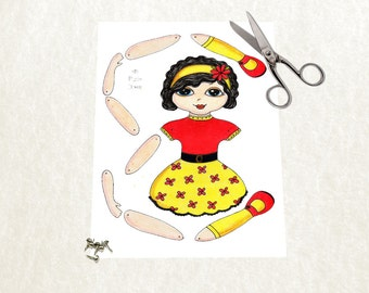 Articulated paper doll instant download . DIY Little girl doll illustration paper doll. Printable art doll.