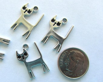 5 Pieces Silver Color Cat with Black Features Charm Pendant