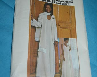 Vintage 70s Butterick 3993  Misses Evening Jacket Dress and Scarf Sewing Pattern - UNCUT - Size 8 or  Size 16