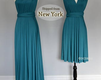 Teal green Wrap dress convertible bridesmaid dresses, infinity dress, sororities dress, infinity bridesmaid dress, prom dress, Ball gown