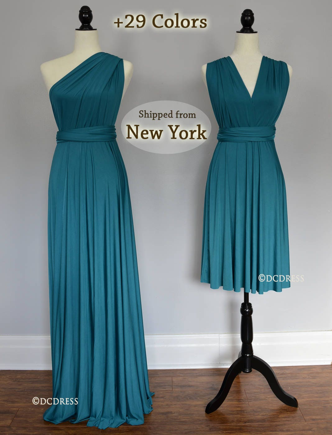 Teal green Wrap dress convertible bridesmaid dresses infinity