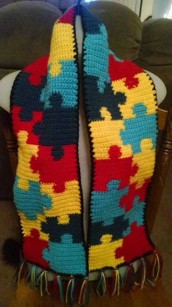Conciencia del autismo puzzle bufanda patrón con borlas