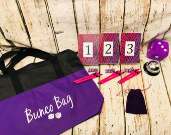 12 Basic Bunco Kit- Hot Pink and Purple Zebra Theme with 2 Score Sheet Designs Included. Budget Friendly