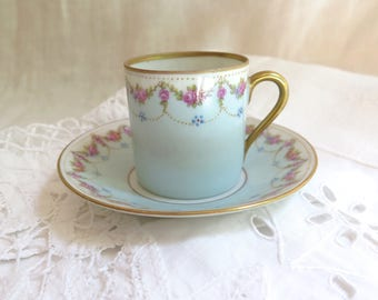 Antique Demi Tasse Cup and Saucer French Floral with Gold Trim