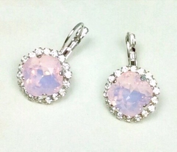 Swarovski Crystal 12MM Cushion Cut, Lever- Back Drop Earrings With Halo - Gorgeous Earrings - Rosewater Opal   SALE 35.  -  FREE SHIPPING