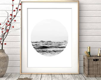 Black and White Print, Ocean Print, Minimalist, Ocean Photography, Ocean Wall Art, Ocean Wall Print, Ocean Poster, Circle Photo, Ocean Photo