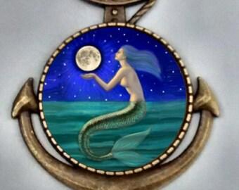 Mermaid Necklace, Nautical Necklace , Mermain Moonlight, Nautical, Anchor Necklace Mermaid Pendand, Mermaid Jewelry.