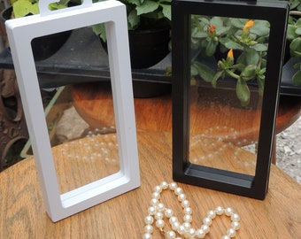 Floating Frame, 196 x 90 mm, Hanging Display Case, Beads, Jewelery, Coins, Gems, Treasure, Stand, Holder, Box, Fossils, Suspended display