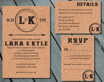 Wine Cork Vinyard WEDDING Invitation Suite with RSVP and Info Card DIY Printable Digital Files