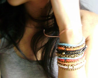 Mix it up - Two bohemian stacking bracelets at your colors choice orange turquoise red black coral etsy fashion - boho jewelry