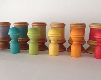 Peekaboo Wooden Peg Doll Matching Rainbow Set