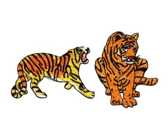 ID 0659AB Set of 2 Circus Tiger Patches Bengal Zoo Embroidered Iron On Applique