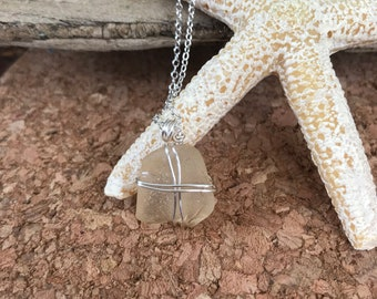 Genuine Sea Glass Necklace - Beach Glass Necklace - Wire Wrapped Necklace - Handmade - Beach Inspired - Unique Gifts