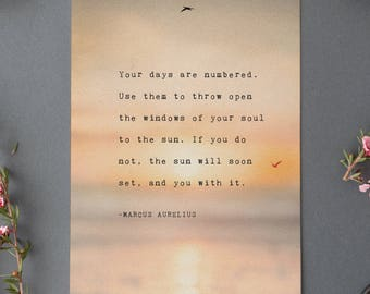 Marcus Aurelius quote print, motivational quote poster, your days are numbered, poetry art, wall decor, gift for her