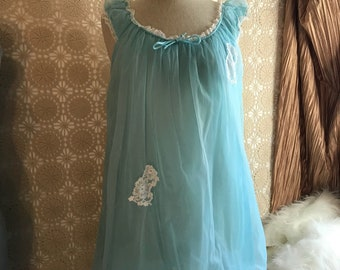 Vintage nightie Nightgown Dressing Gown 1960's Babydoll Nylon Sheer Lingerie baby blue with white lace