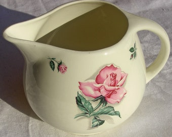 Homer Laughlin - Rhythm Rose Pattern - Household Institute Kitchen Kraft Pitcher - Shipping Included