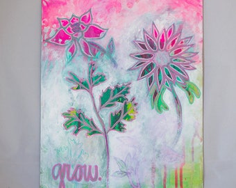 Flower Painting Art - Original Artwork Flowers - Colorful Picture Botanical Decor - Affirmation Wall Art - Mixed Media Art Positive Energy