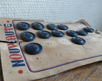 Vintage Wooden Buttons, French Fashion, Sewing Supplies, Dark Blue Buttons, on card buttons, craft jewelry button, Vintage Haberdashery