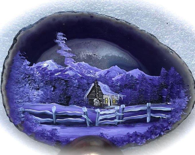 Hand Painted Brazilian Agate Lavender Winter Log Cabin