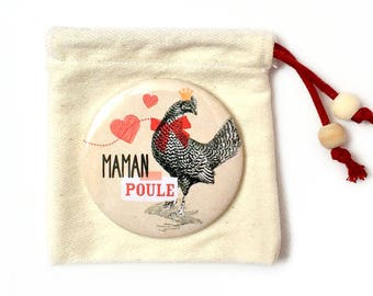"""Pocket mirror and pouch """"maman poule"""" 58 mm"""
