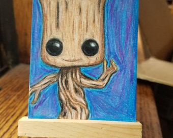 Dancing Groot Hand Drawn ACEO Artist Trading Card 2.5x3.5 inch Blue