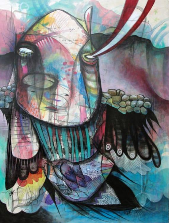 Humanimal - Original Mixed Media Painting on Wood - 2012