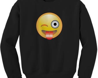 Color Emoticon - Tongue Out Smile Adult Crewneck Sweatshirt